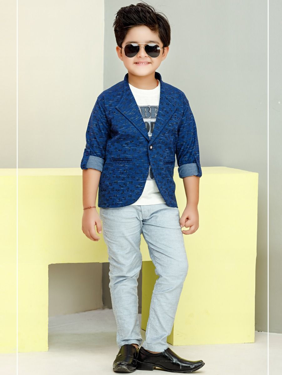 Boys Half Sleeves Printed Tee With Jacket & Pants Set-ONLBHSP2106