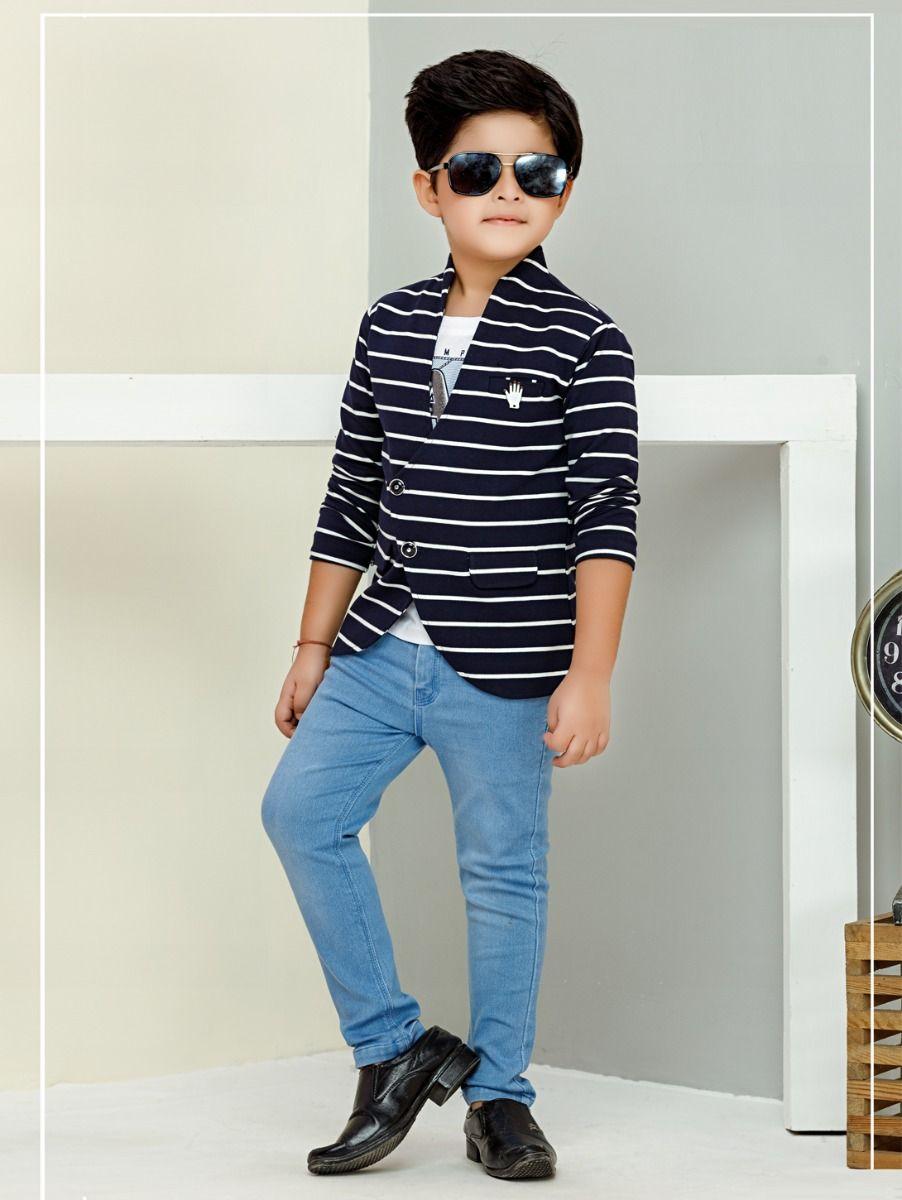 Boys Full Sleeves Blazer With Print T-Shirt - 85ONLBCS2115