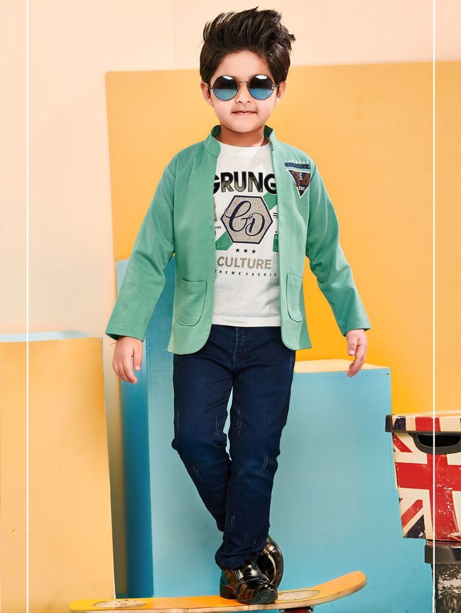 Boys Full Sleeves Blazer With Print T-Shirt - 85ONLBCS2302