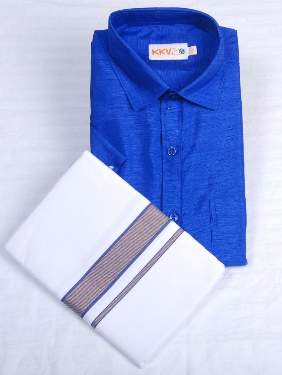 Slub Silk Shirt with Cotton Dhoti Set