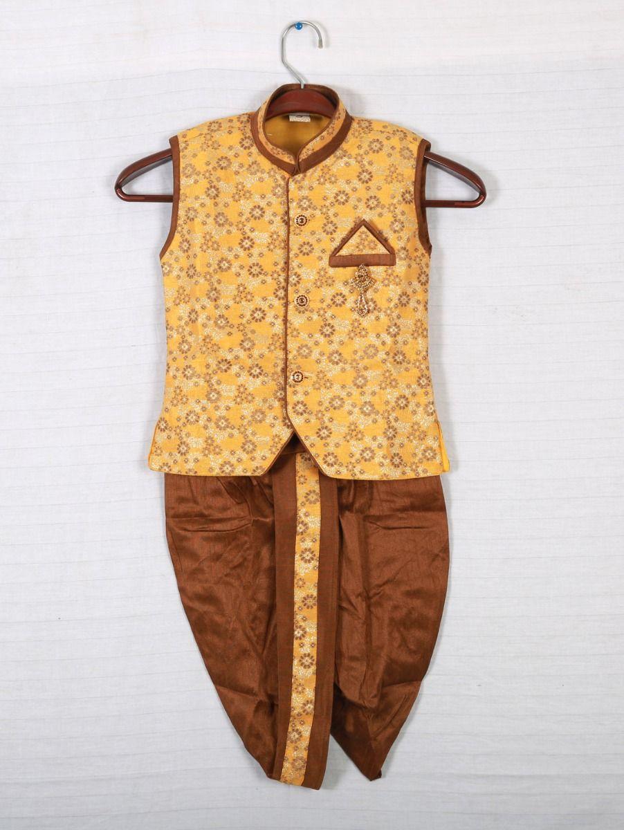 Hooks sleeveless Kurtha and Dothi - Yellow with Brown