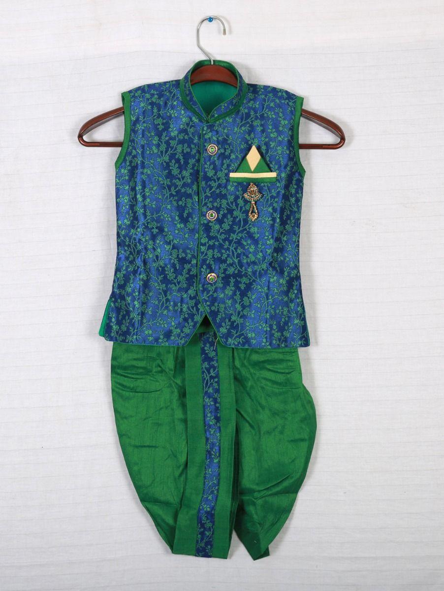 Hooks Sleeveless Kurtha and Dothi - Blue with Green