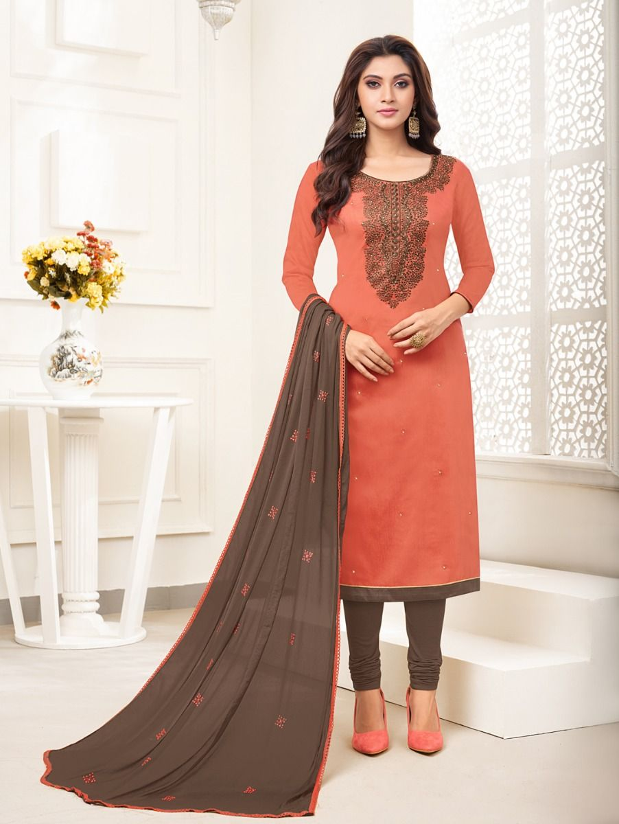 Isabella Women's Embroidered Cotton Dress Material - GENA25004