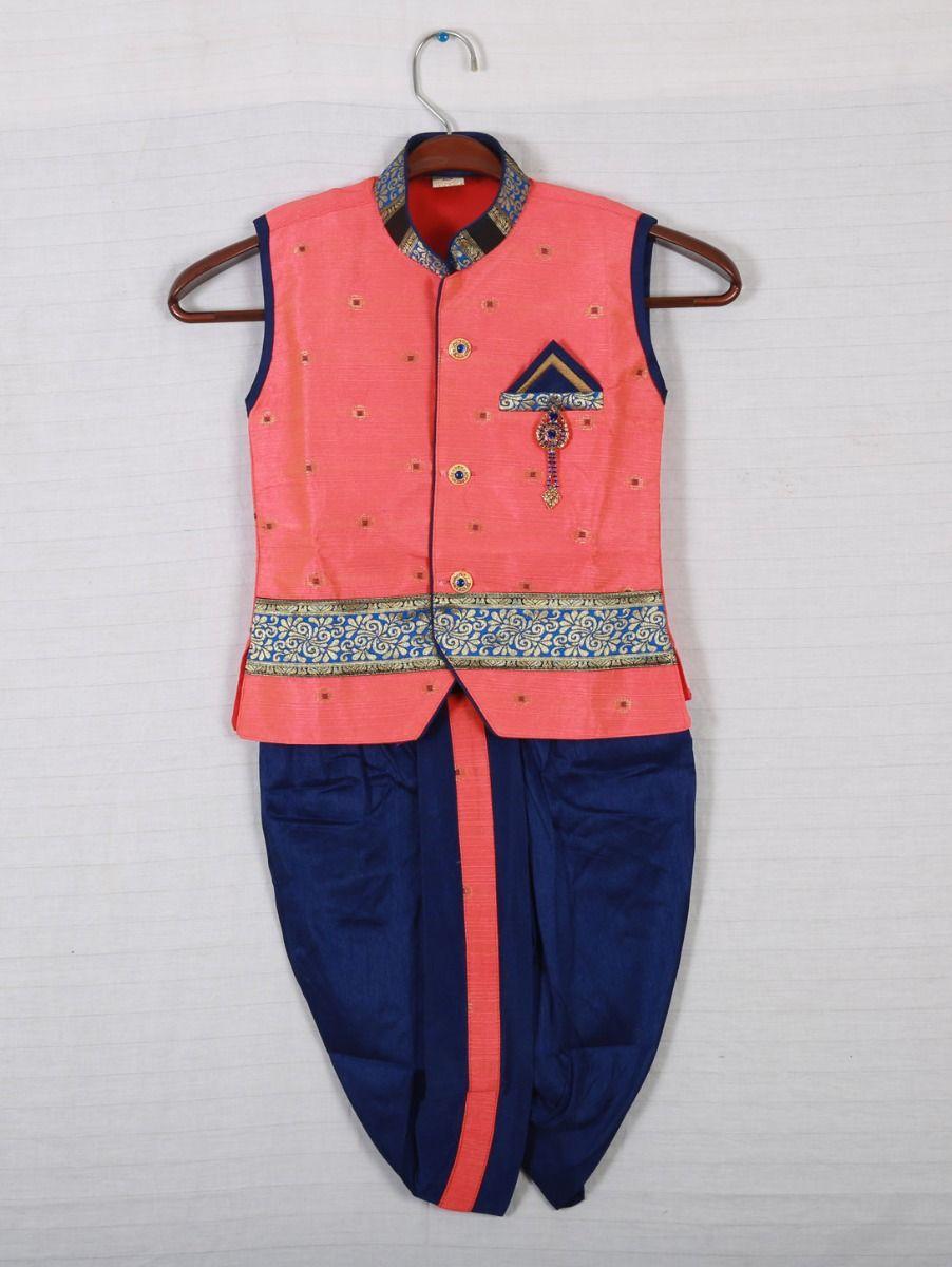 Hooks Sleveeless kurtha and Dothi - Pink with Blue-KD253
