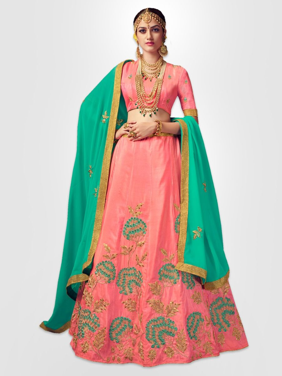 Women's Embroidered Semi-Stitched Lehenga Choli & Unstitched Blouse with Dupatta - FLC3117A