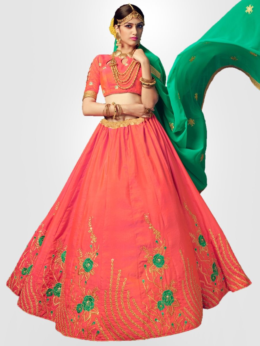 Women's Embroidered Semi-Stitched Lehenga Choli & Unstitched Blouse with Dupatta - FLC3119A
