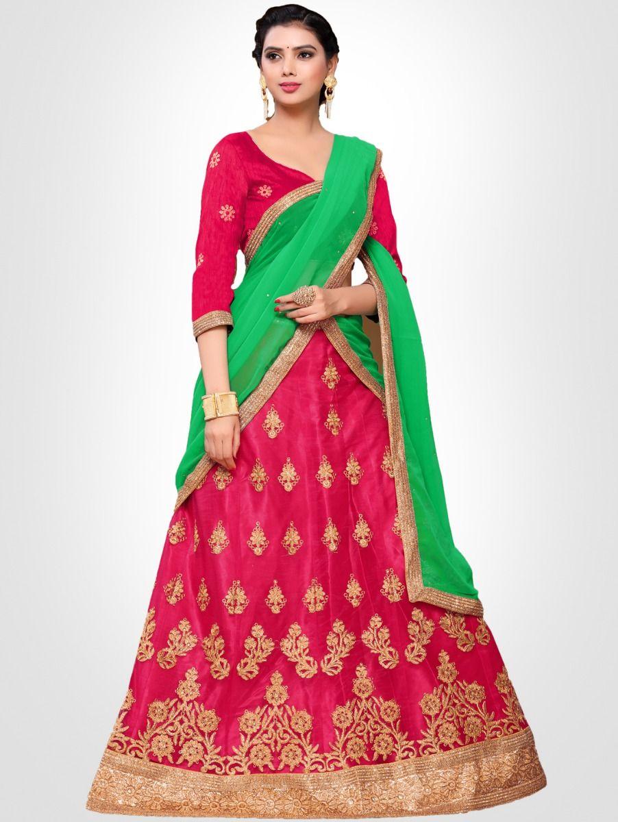 7559bc603a0 Women s Embroidered Semi-Stitched Lehenga Choli   Unstitched Blouse ...