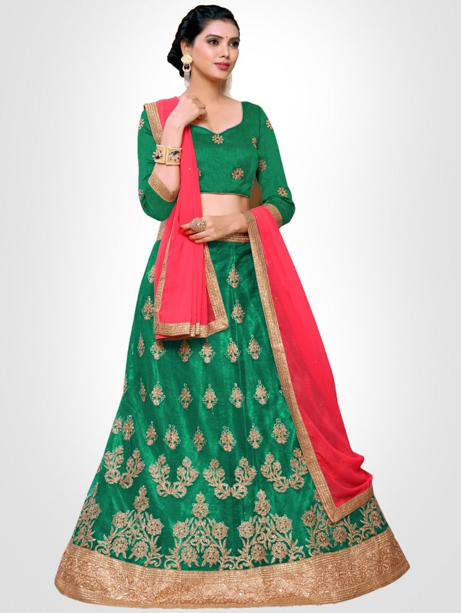 Women's Embroidered Semi-Stitched Lehenga Choli & Unstitched Blouse with Dupatta - FLC3147D