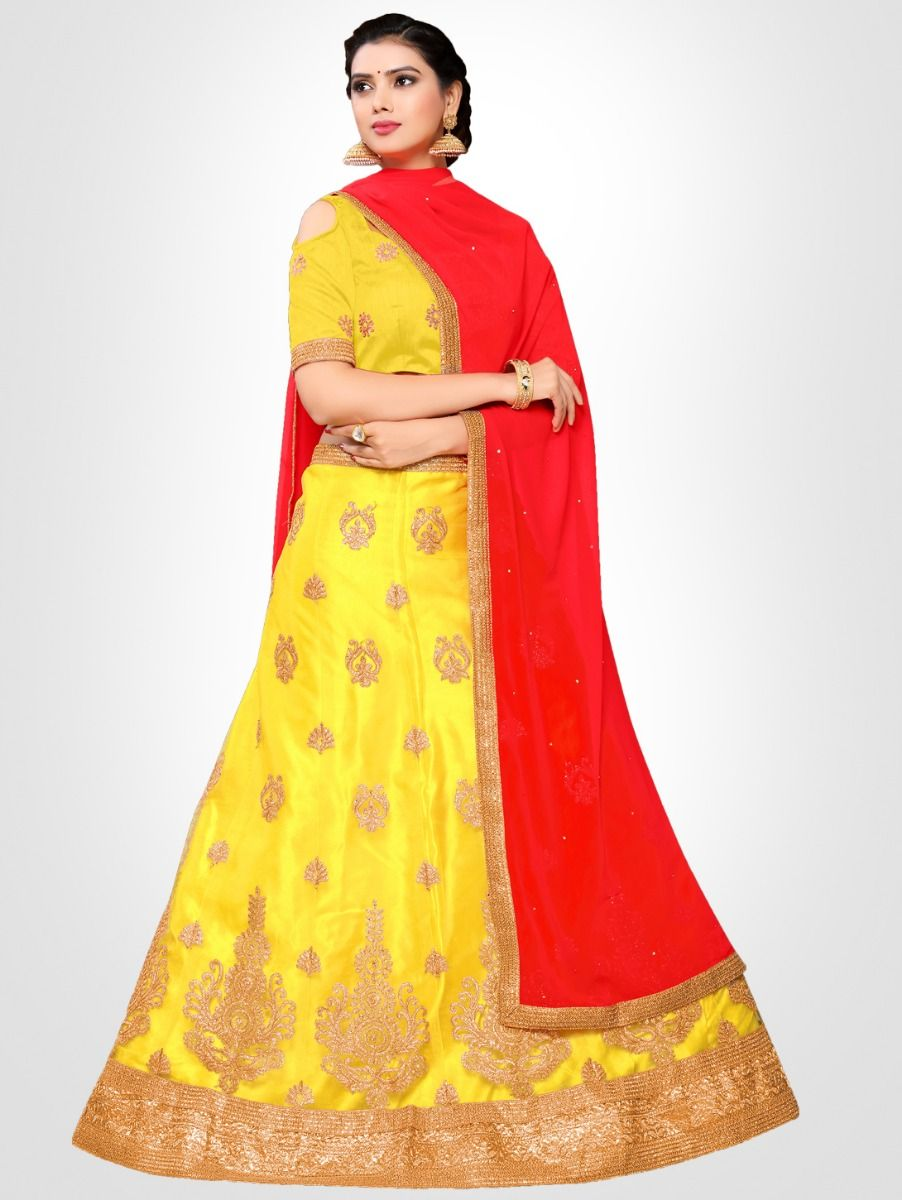 Women's Embroidered Semi-Stitched Lehenga Choli & Unstitched Blouse with Dupatta - FLC3149A
