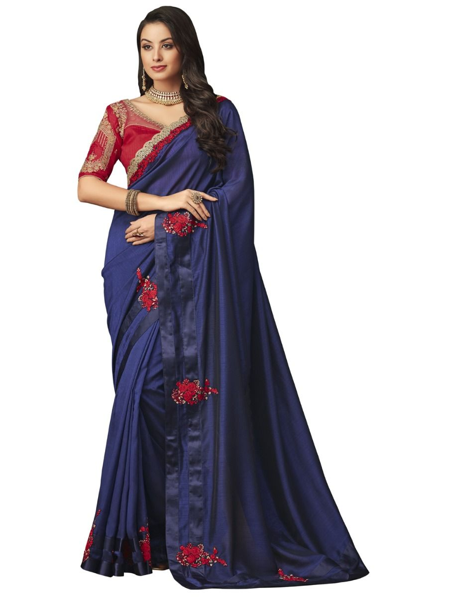0d70d2c018 Elegance Party wear saree Blue - EPS3805. Hover to zoom