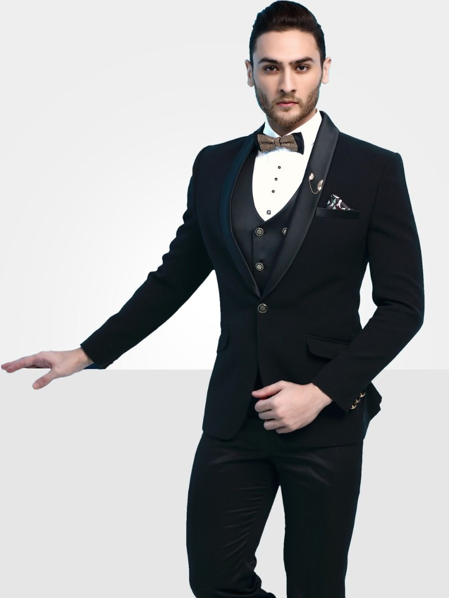 Men's Imported Designer Black Suit - 41295-40