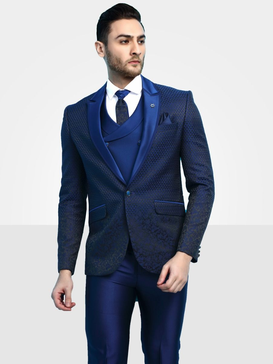 Men's Imported Designer Blue Suit - DS41383-44