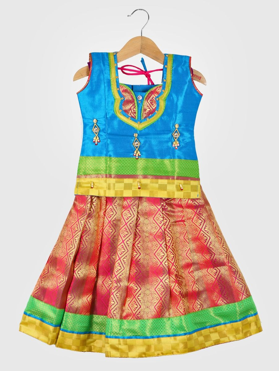 Girls Ready Made Art Silk Pavadai Set - ONLGPP5007