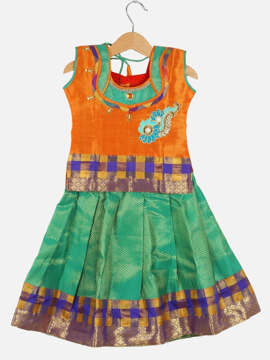 Girls Ready Made Art Silk Pavadai Set - ONLGPP5010