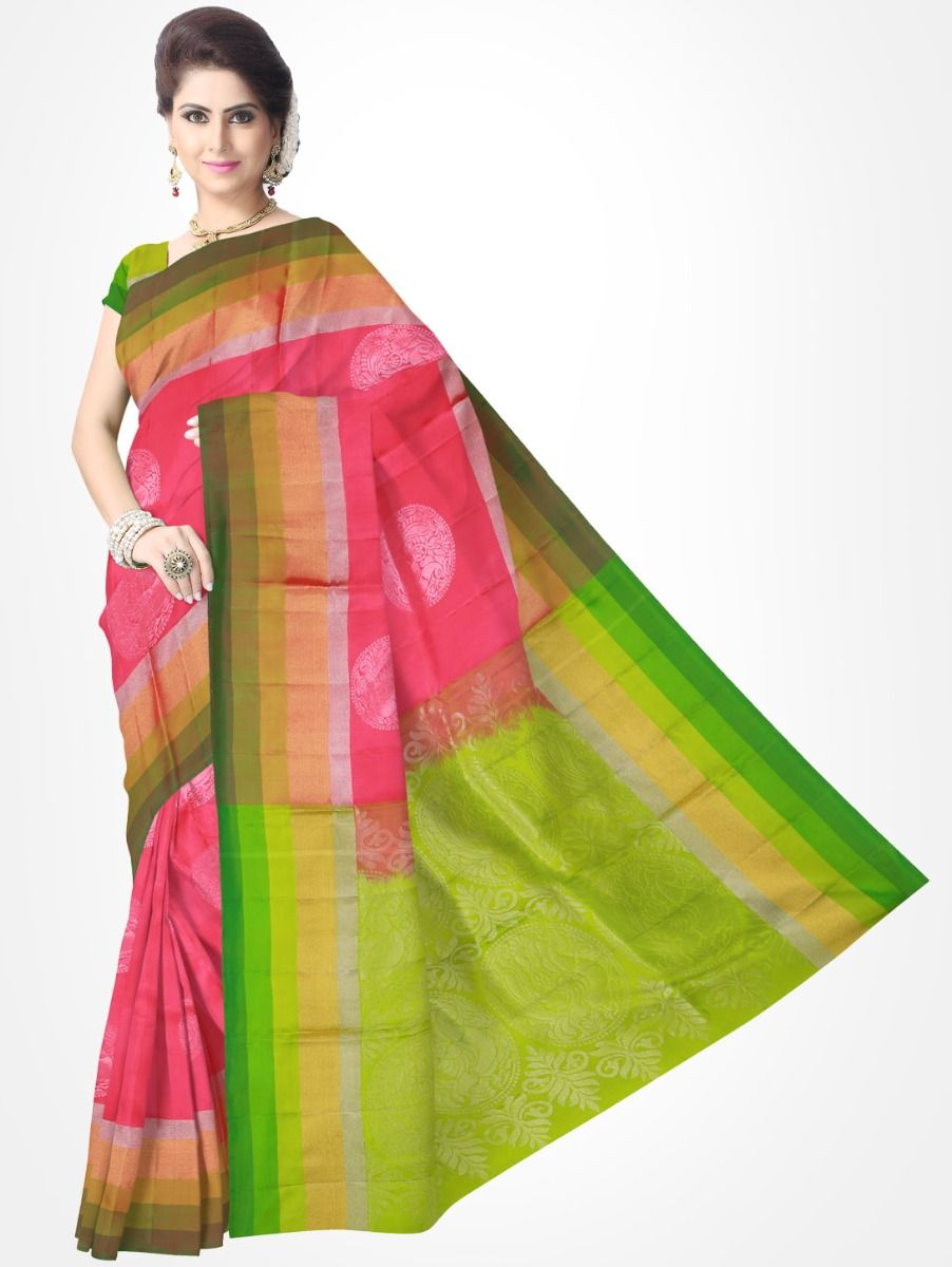 310748ac0f Pink with Green Soft Silk Saree