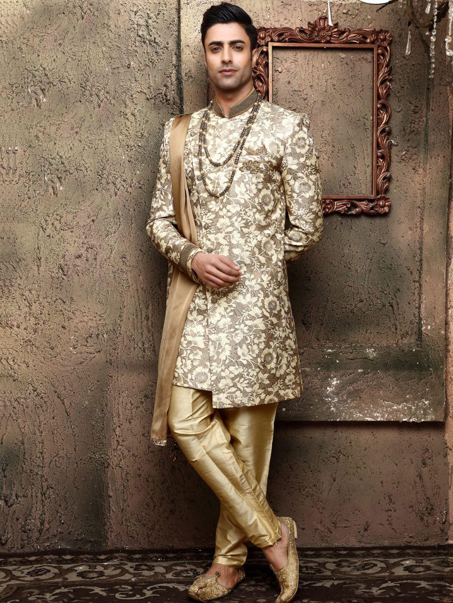 Golden Heavy Jaquard Self Print Design Indo Western Suit - IWS61852