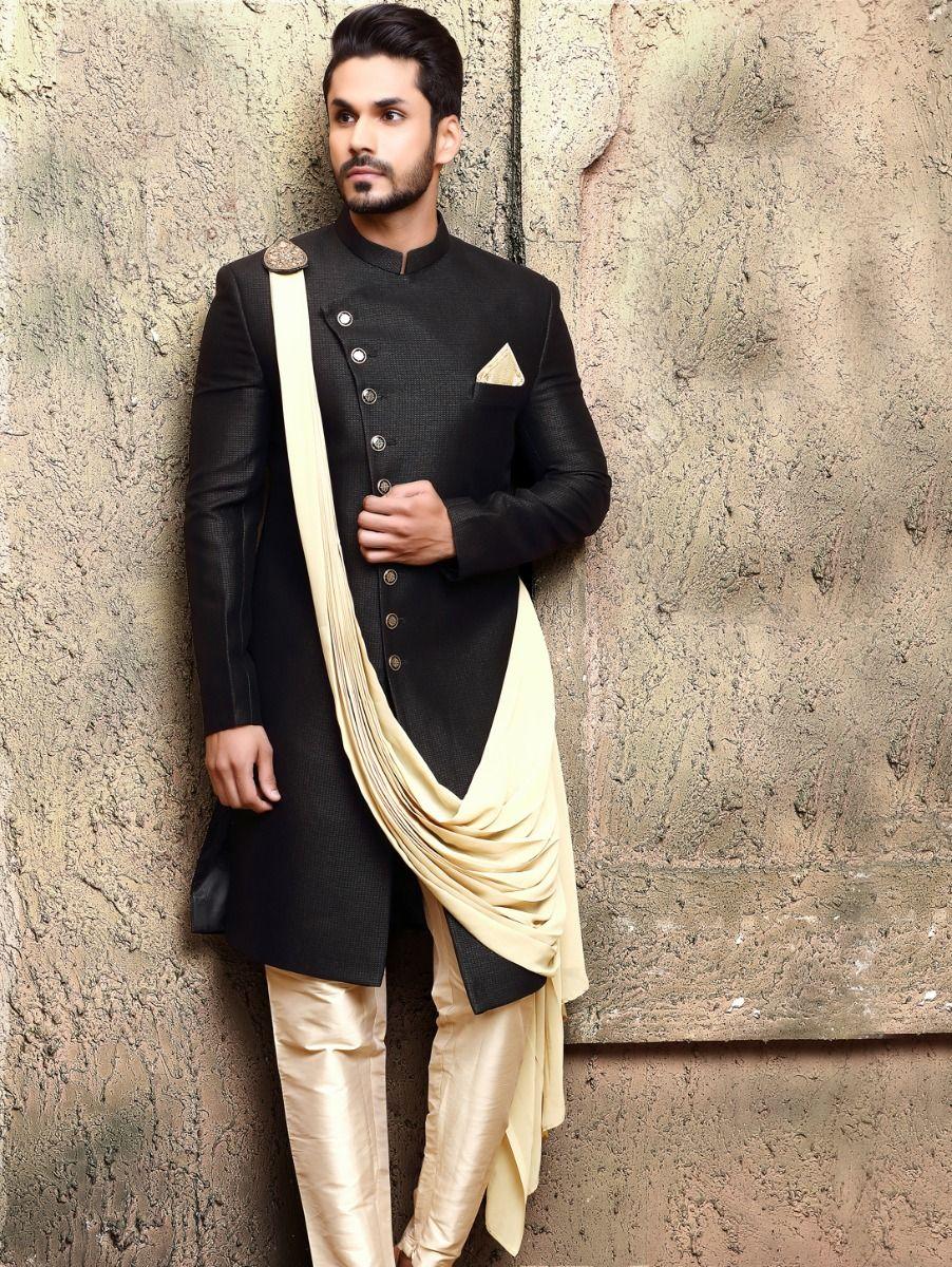 Black Navabi Imported Self Indo Western Suit - IWS61889