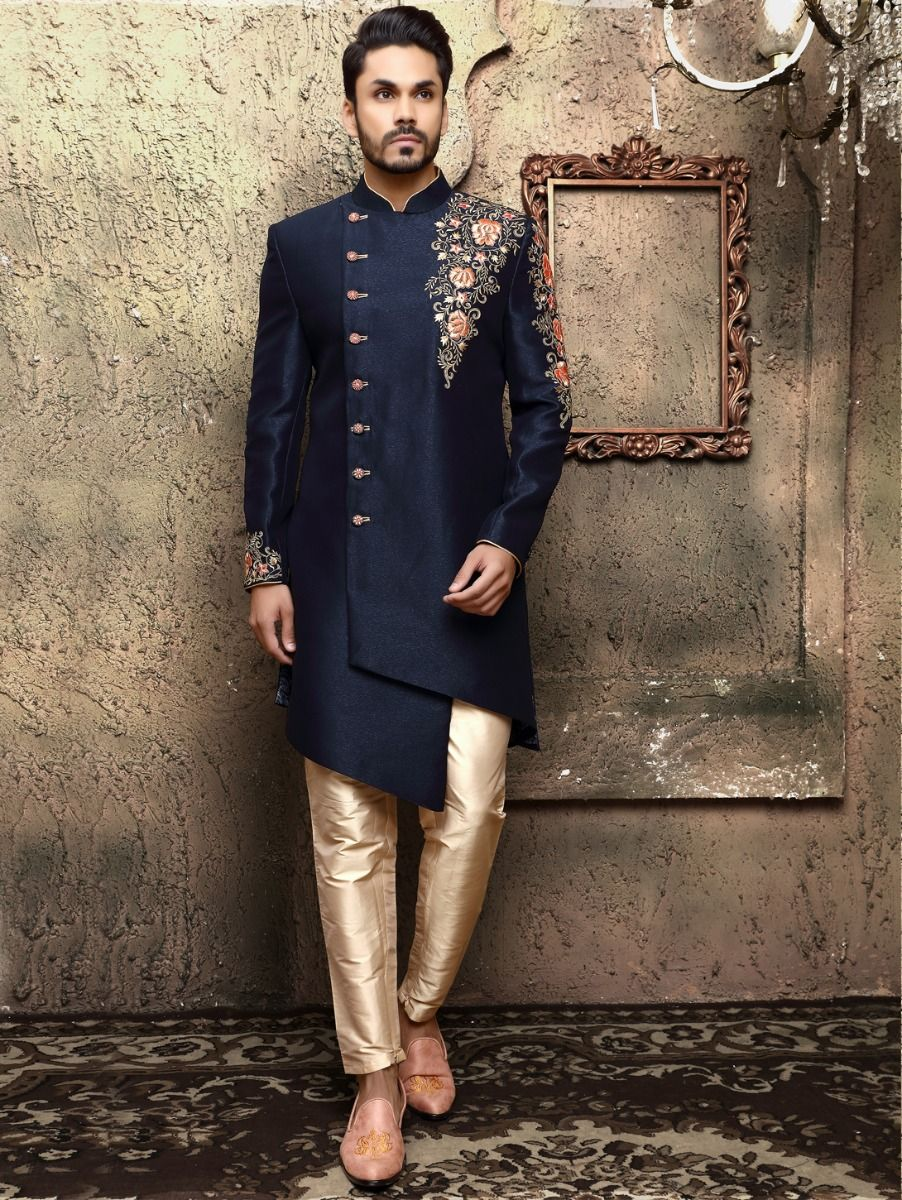Blue Hand Embroidery Work Indo Western Suit - IWS61933