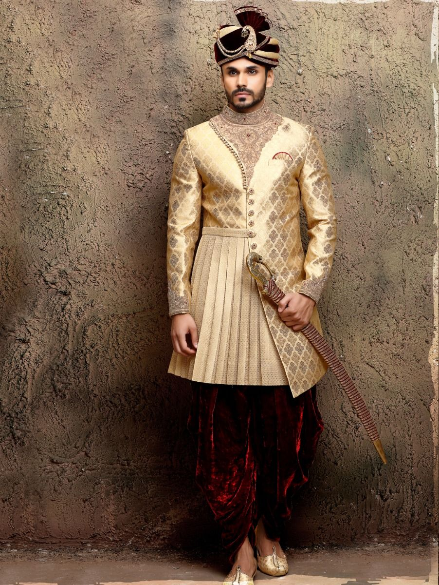 Heavy jaquard Hand Work Indo Western Suit - IWS62021
