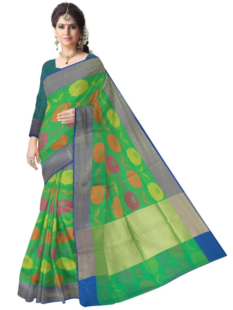 Fancy Kora Weaving Saree - Green - FKC852