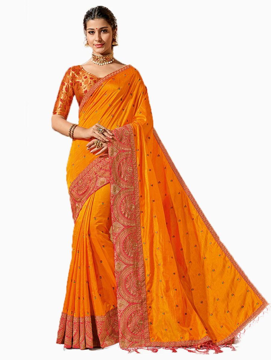 Party wear Sana Silk Orange Saree - PWSS8652