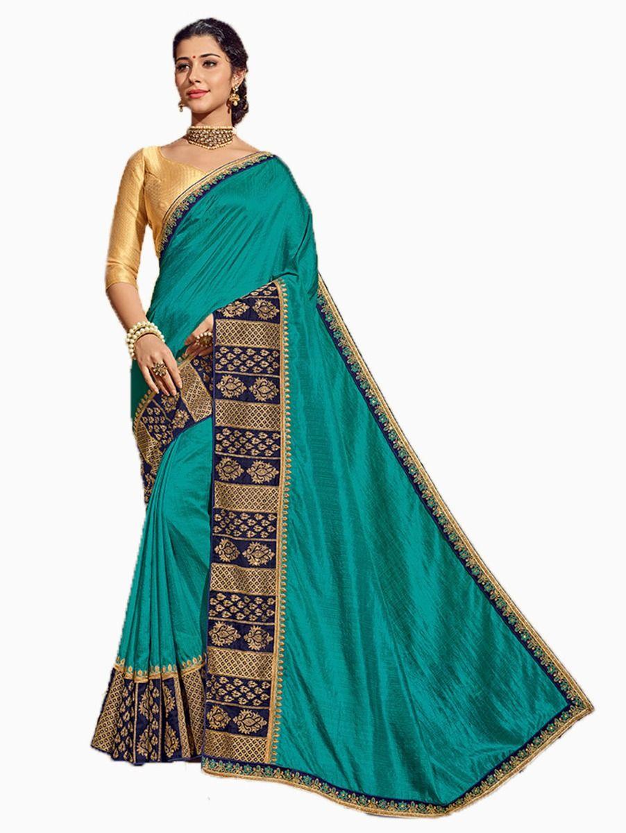 Party wear Sana Silk Cyan Saree - PWSS8664