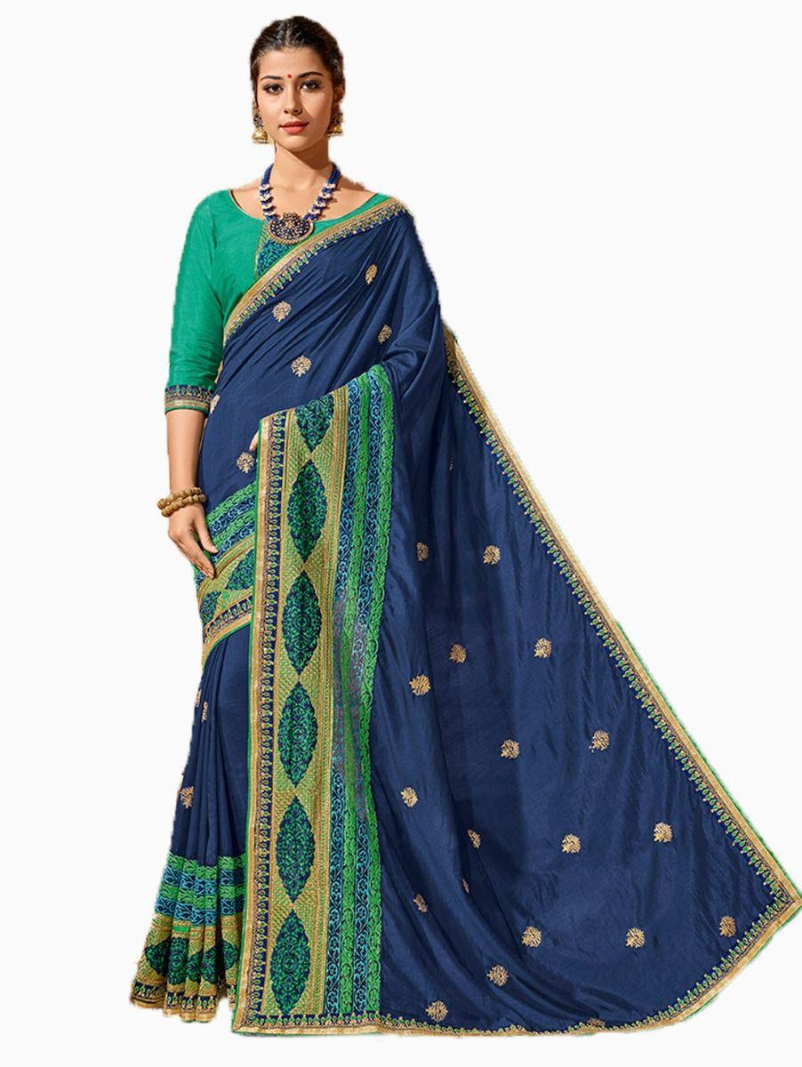 Party wear Sana Silk Blue Saree - PWSS8666