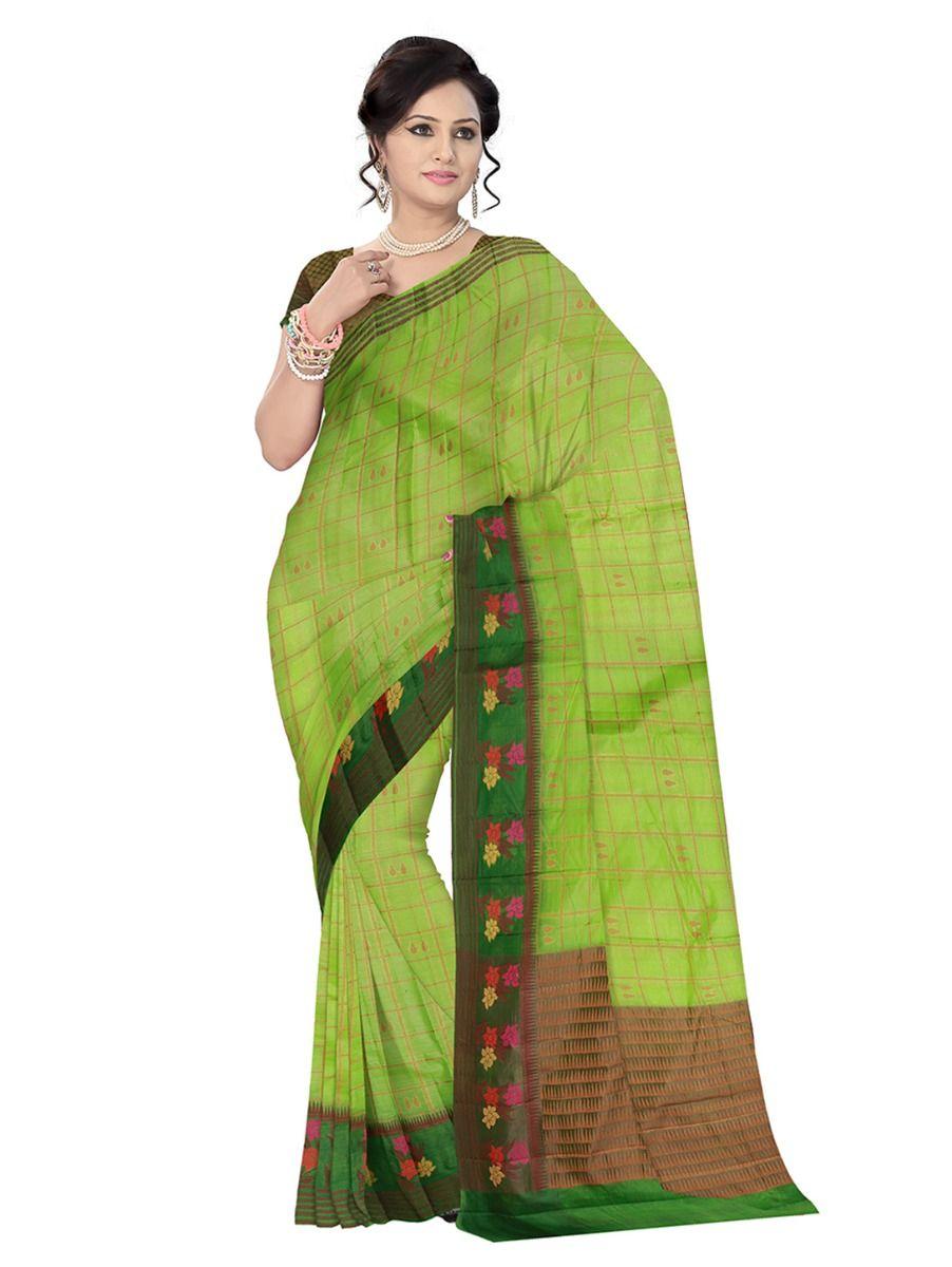 Tussar Green Silk Saree