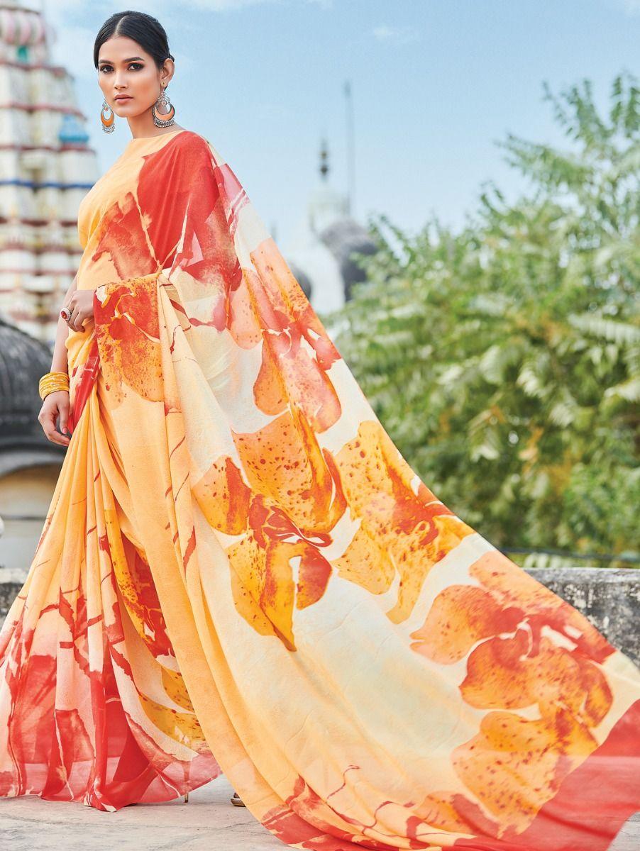 Kyathi Pure Georgette Printed Fancy Saree
