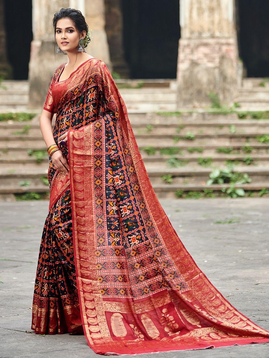Kyathi Moonga Silk Printed With Zari Border Saree