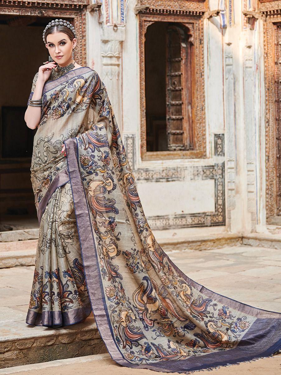 Kyathi Tussar Silk Printed With Zari Border Saree