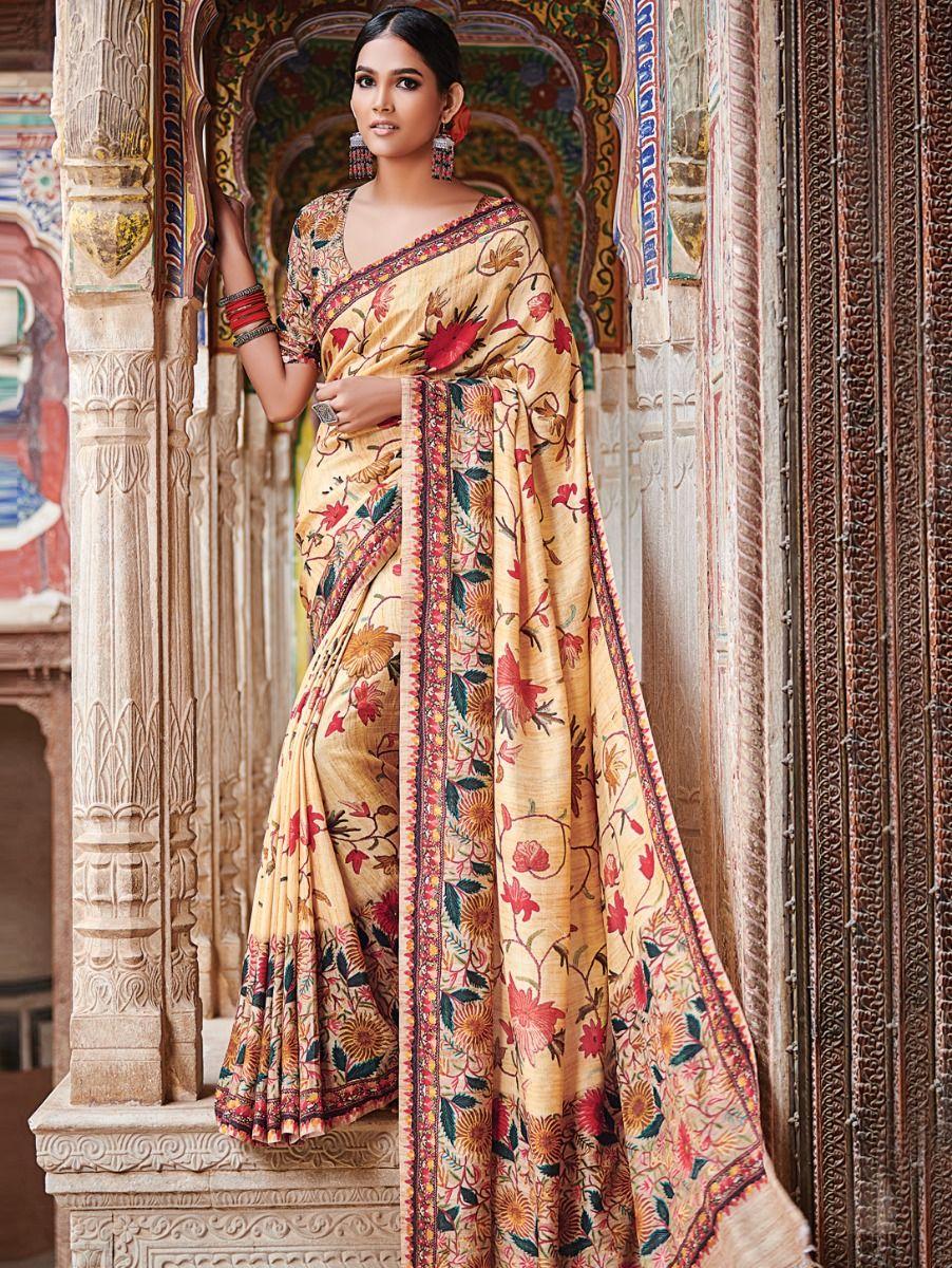 Kyathi Katan Silk Printed Multicolor Saree