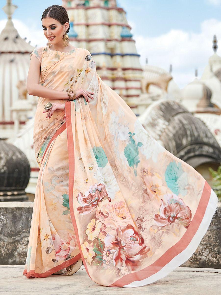 Kyathi Pure Georgette Digital Printed Fancy Saree