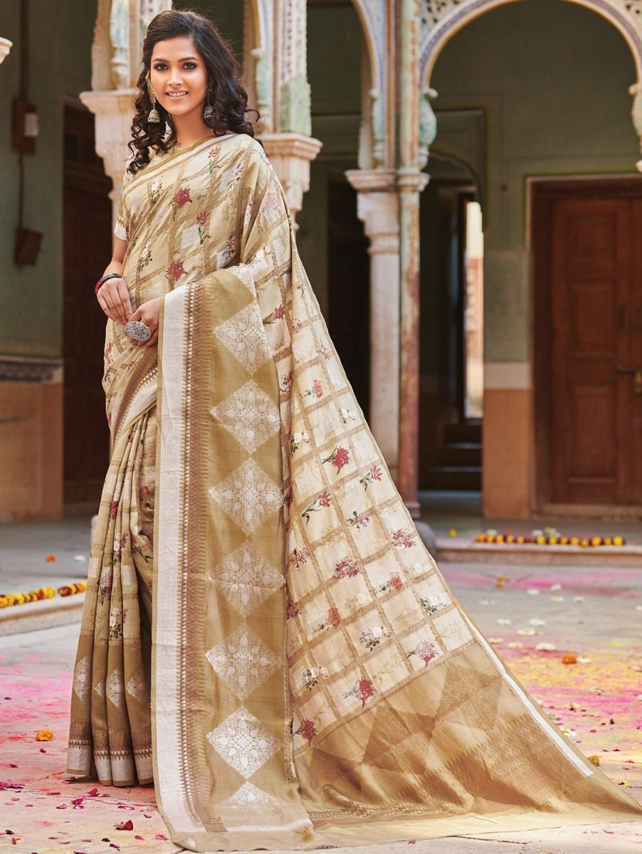 Kyathi Benarsi Katan Silk Digital Printed Fancy Saree