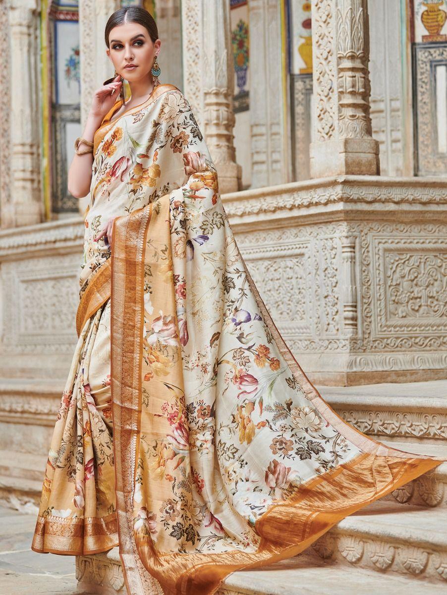 Kyathi Chiniya Silk Digital Printed With Zari Border Fancy Saree