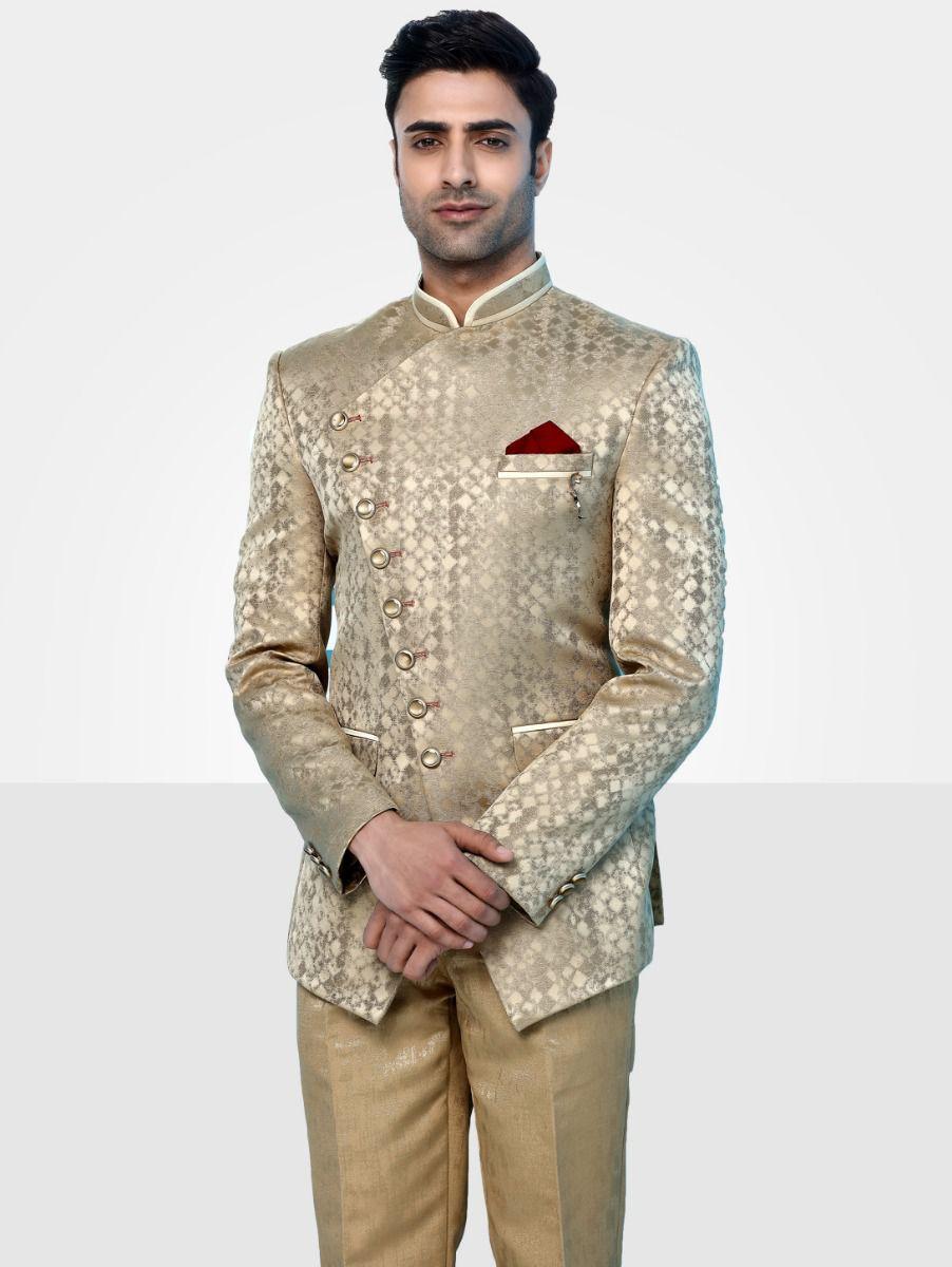 Men's Imported Jodhpuri Golden Suit - JS91225