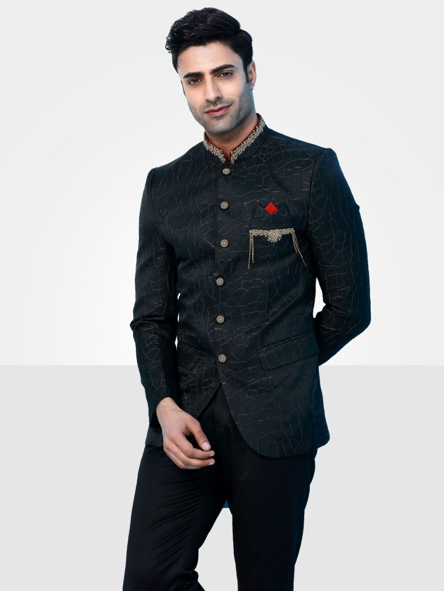 Men's Imported Jodhpuri Black Suit - JS91361