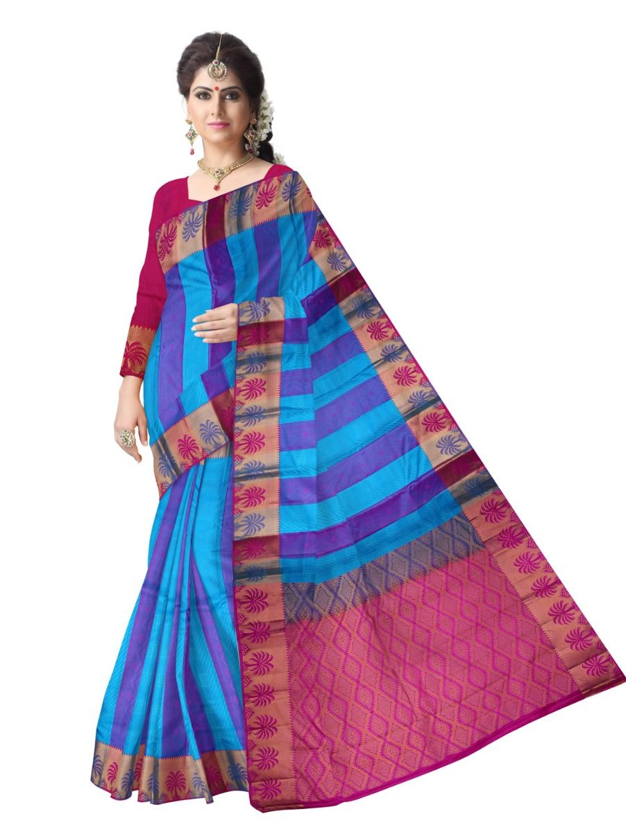 multi-color-checked-traditional-silk-saree-tss9803