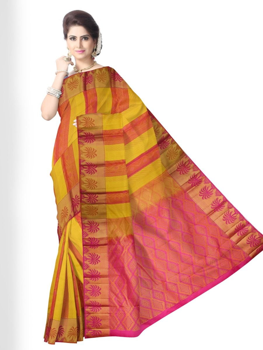 multi-color-checked-traditional-silk-saree-tss9804