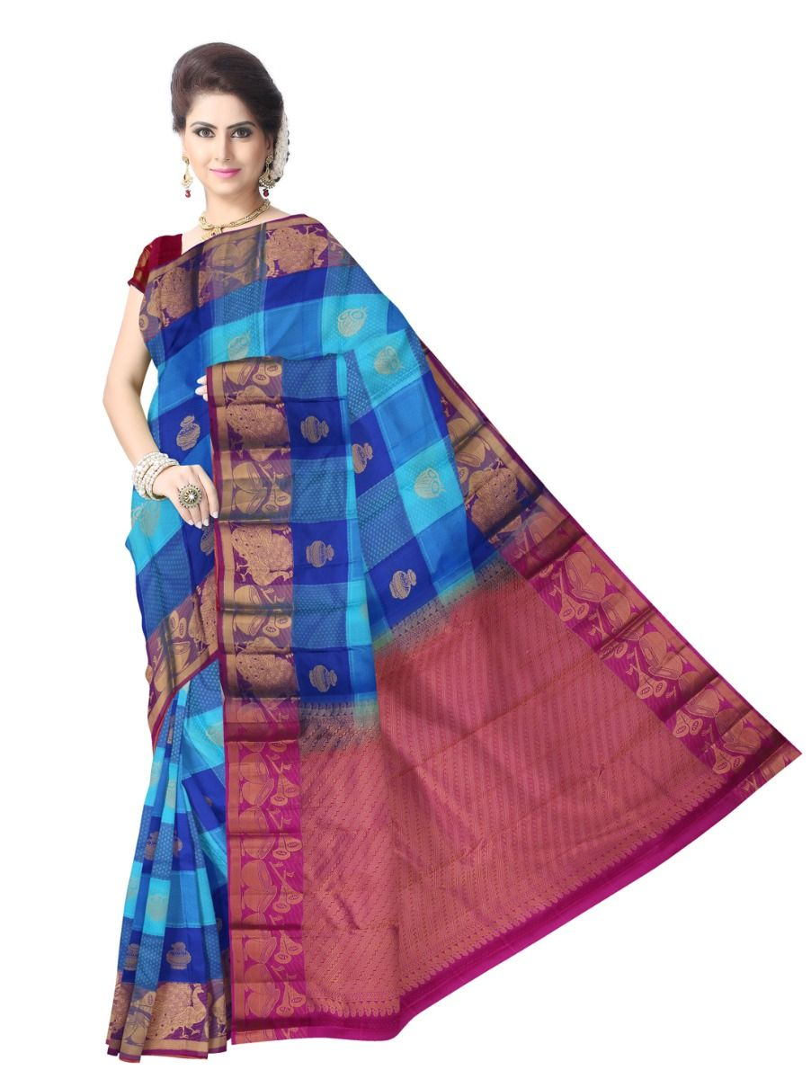 multi-color-checked-traditional-silk-saree-tss9808