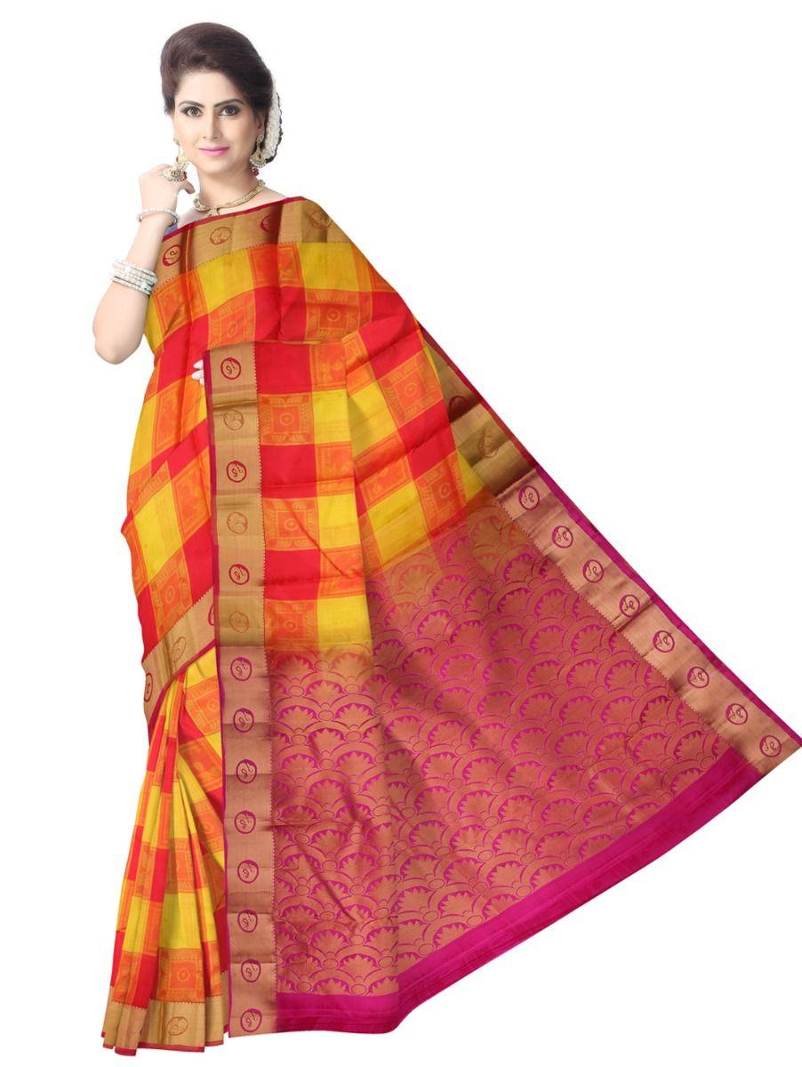 multi-color-checked-traditional-silk-saree-tss9809