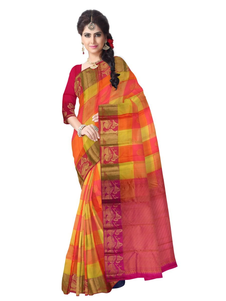 multi-color-checked-traditional-silk-saree-tss9810
