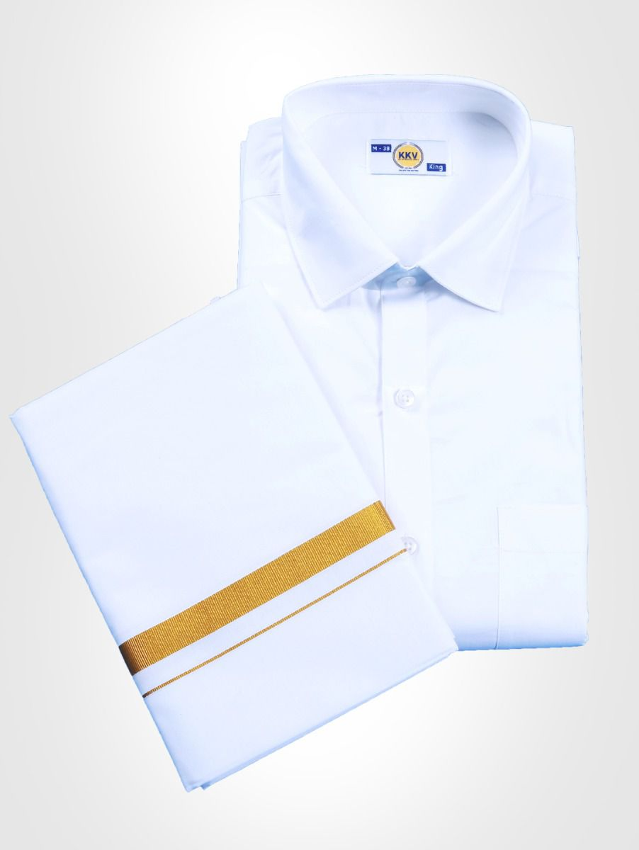 KKV White Cotton Shirt & Dhoti Set