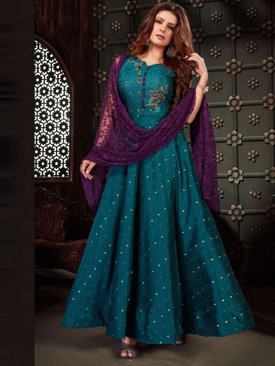 Kyathi Bangalore Silk Slub Readymade Anarkali Salwar Kameez - TUPH001MFB6270972