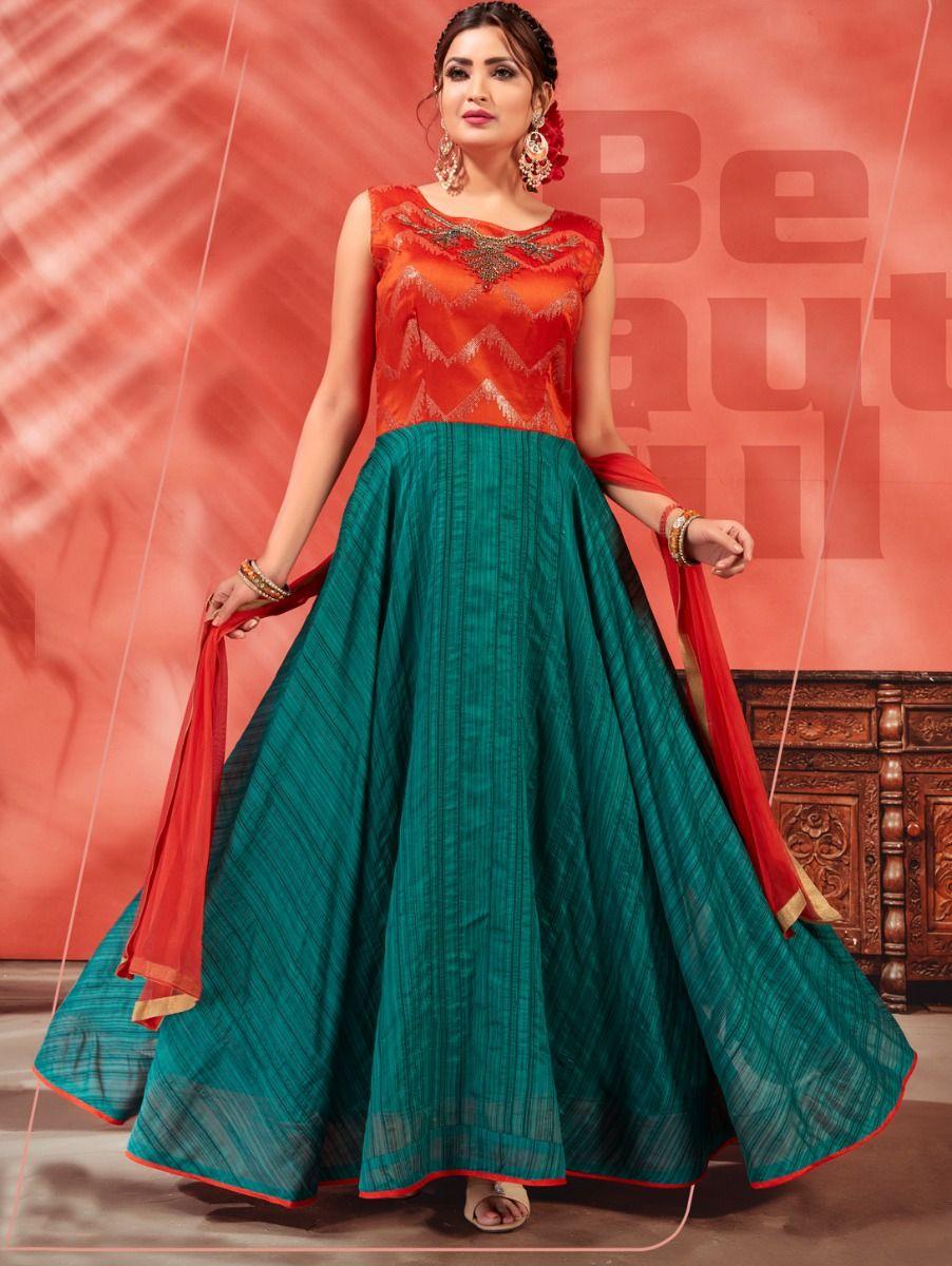 Kyathi Chendari Semi Silk Readymade Anarkali Salwar Kameez -TUPMFB6270977J03