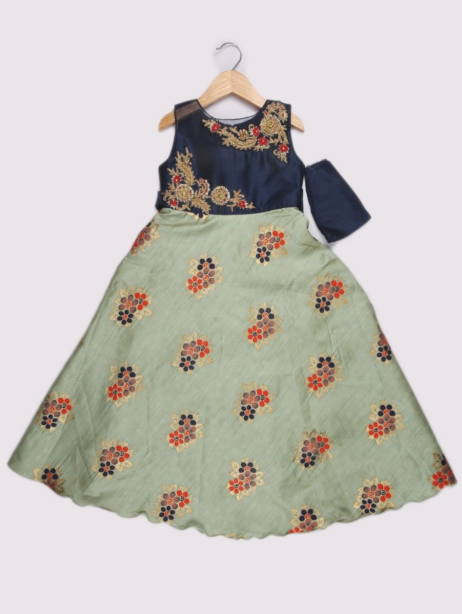 Girls Pista Silk Embroidery Long Frock