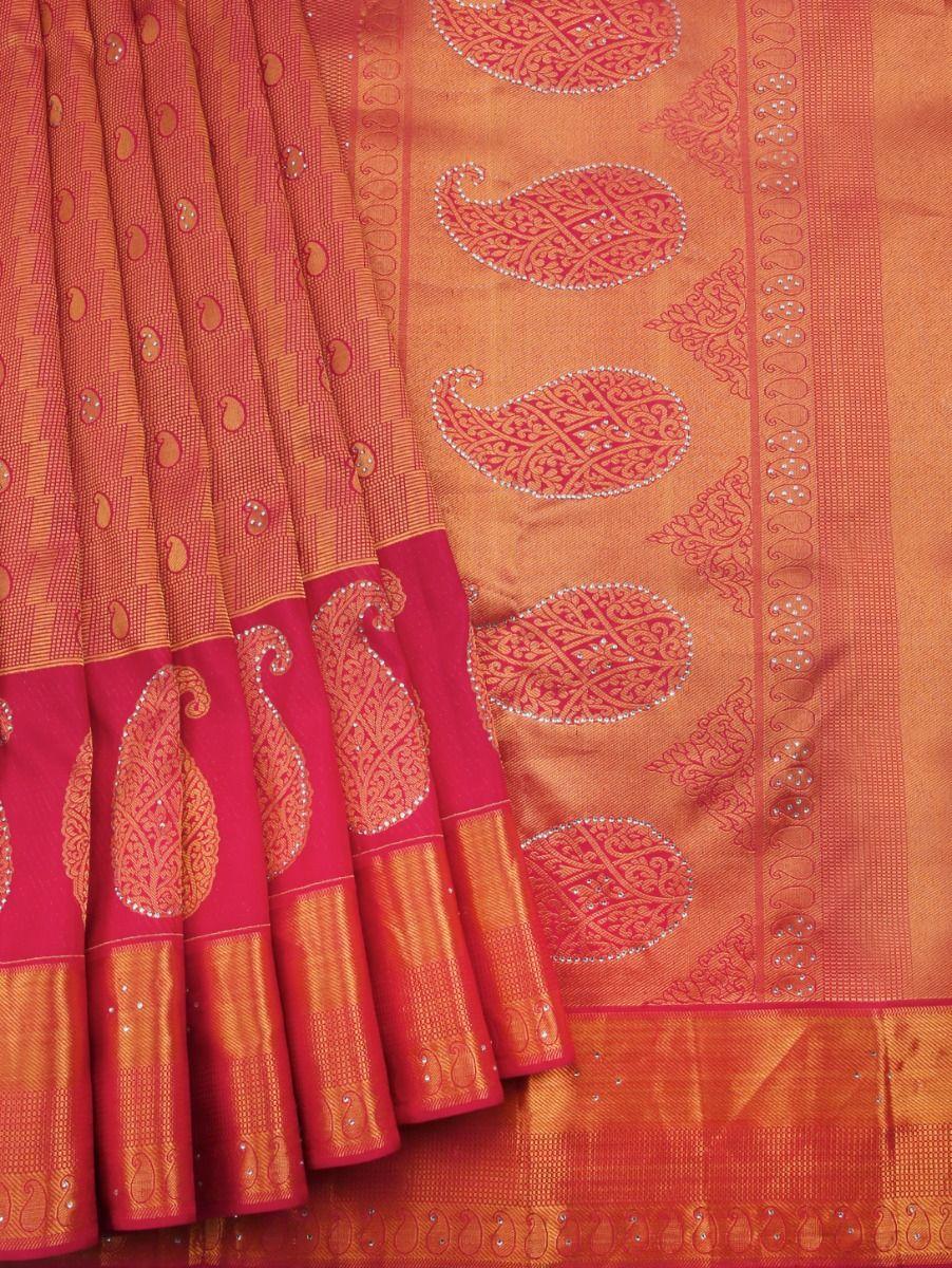 Vivaha Kanchipuram Stone Work Silk Sareee - LEA7588340