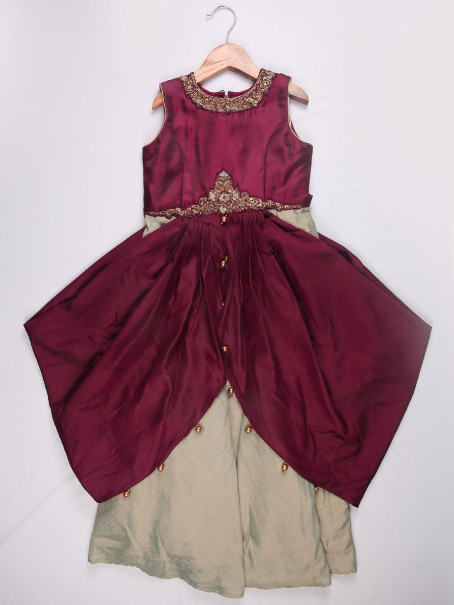 Girls Imported Long Frock - Maroon with Offwhite