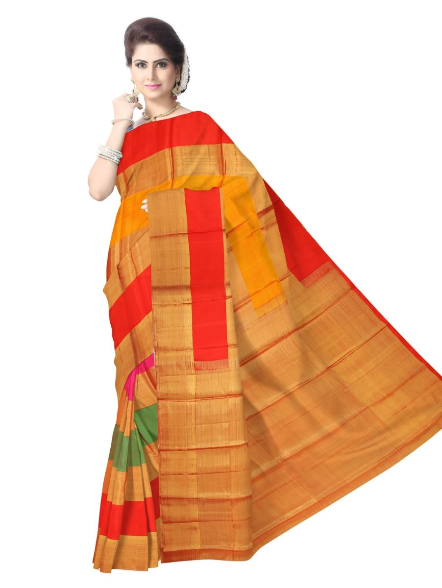Estrila Kanchipuram Multicolor Silk Saree