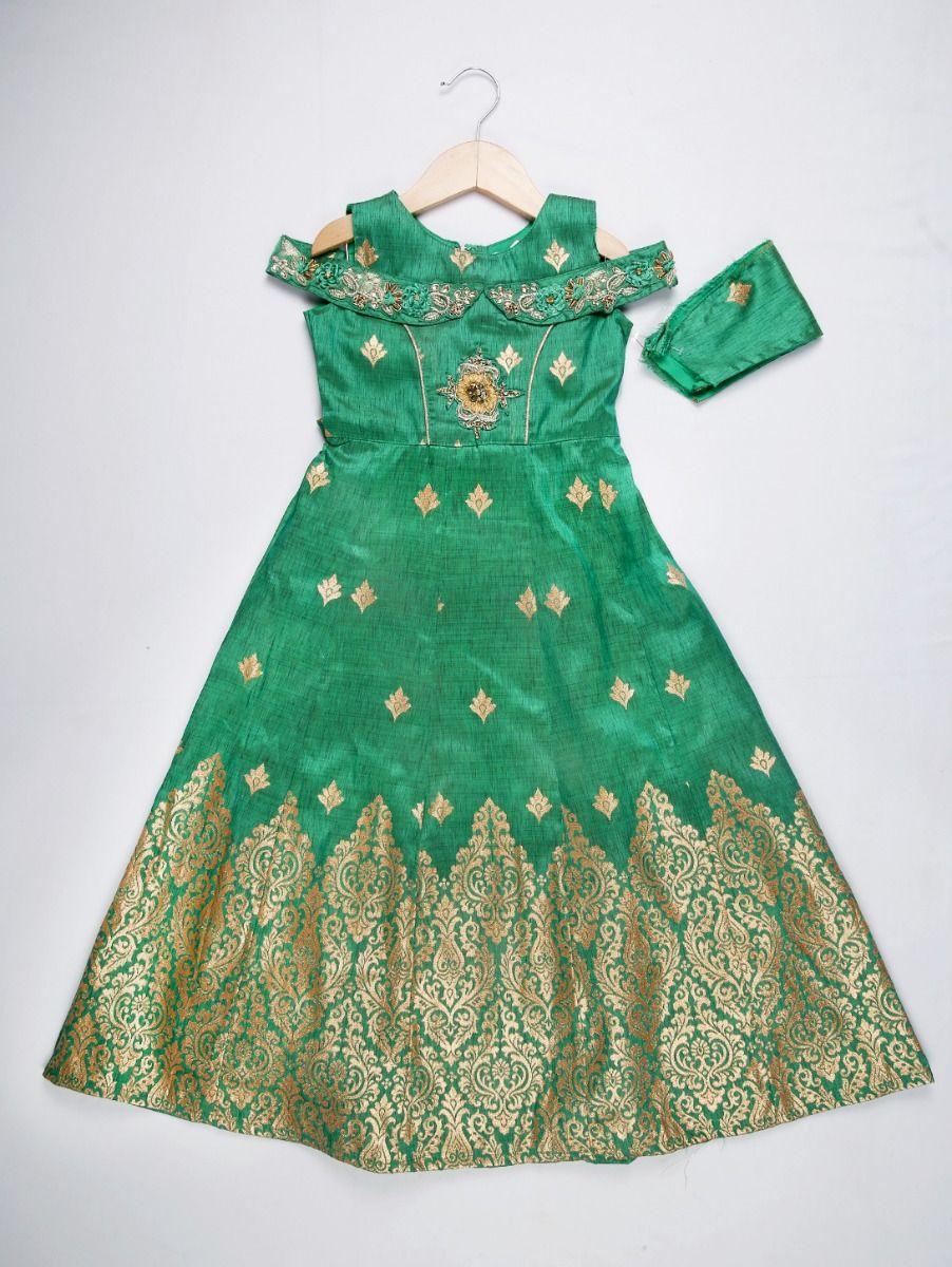 Girls Silk Jacquard Long Frock - Green
